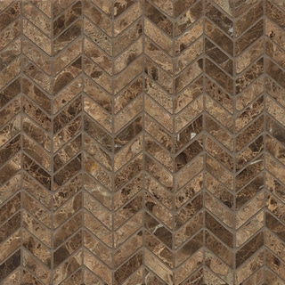 Emperador Dark Marble Chevron Mosaic Polished Tiles (Box of 10 Sheets)