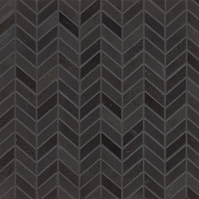 Absolute Black Granite Chevron Mosaic