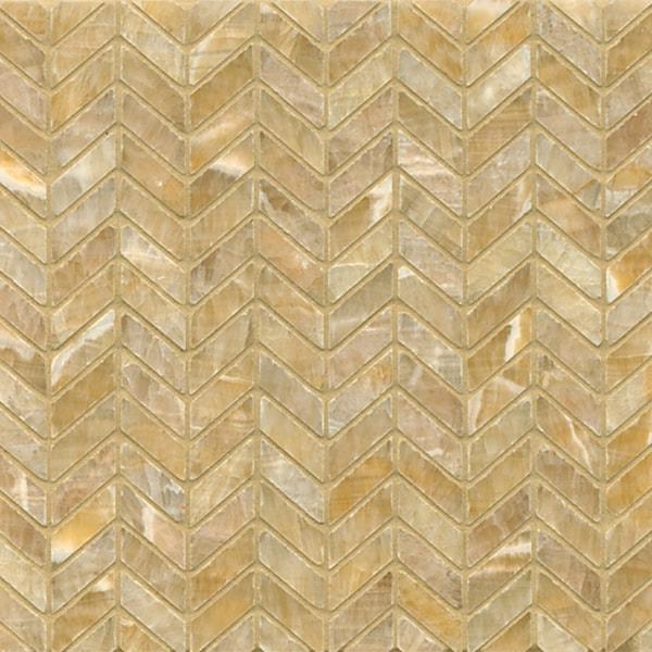 Sweet Honey Onyx Chevron Mosaic Polished Tiles (Box of 10 sheets)