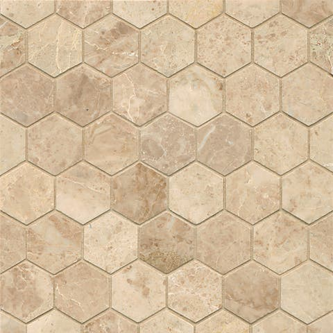 Cappuccino Marble Hexagon Mosaic Polished Tiles (Box of 10 Sheets)