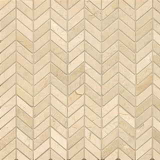 Crema Marfil Marble Chevron Mosaic Polished Tiles (Box of 10 Sheets)
