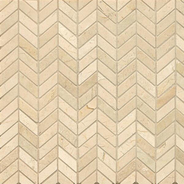 Crema Marfil Marble Chevron Mosaic Polished Tiles Box of 10