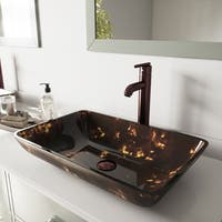 VIGO Rectangular Brown and Gold Fusion Glass Vessel Sink and Faucet Set in Oil Rubbed Bronze