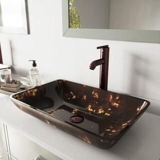 VIGO Brown and Gold Vessel Bathroom Sink and Seville Vessel Faucet Set