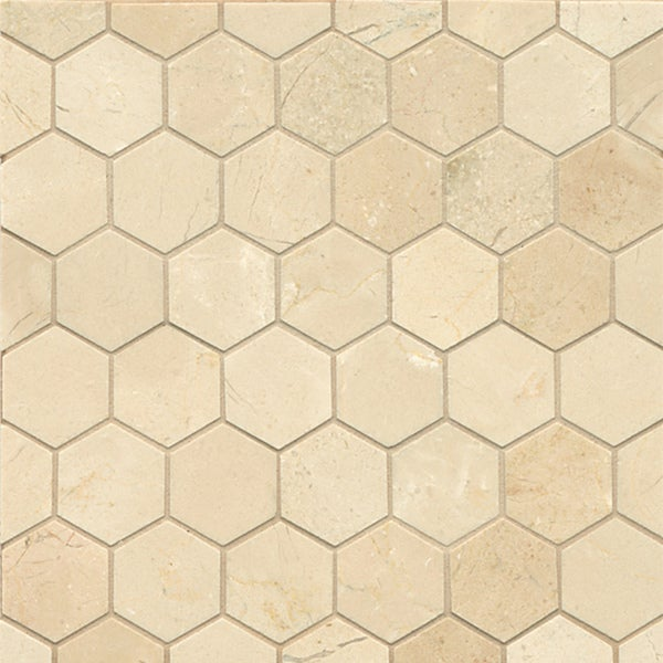 Shop Crema Marfil Marble Hexagon Mosaic Polished Tiles Box Of - How many floor tiles come in a box