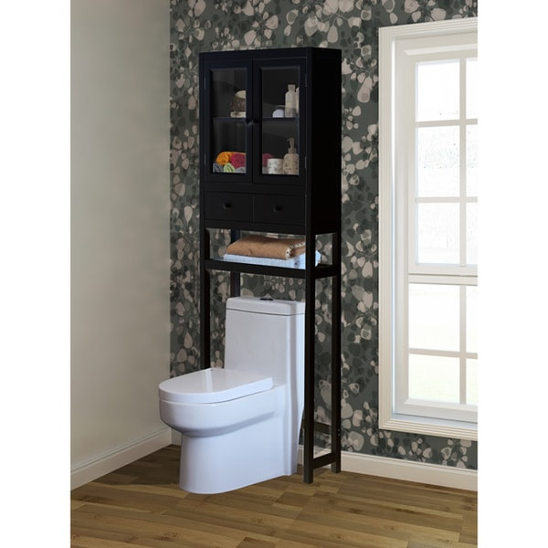 Brown over the toilet space saver cabinet free shipping for Over the toilet cabinet