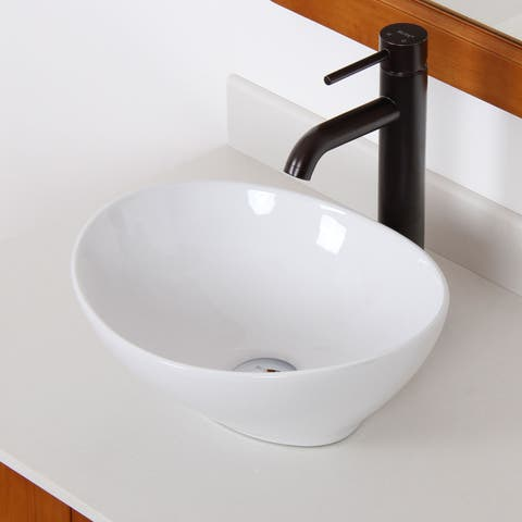 Elite 8089F371023ORB High Temperature Ceramic Bathroom Sink With Oval Design and Oil Rubbed Bronze Finish Faucet Combo