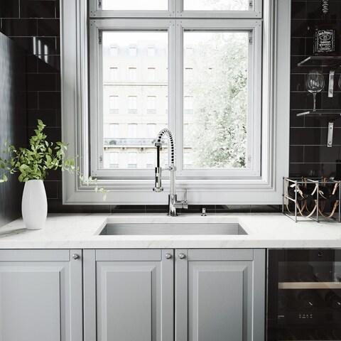VIGO 30-inch Ludlow Stainless Steel Undermount Sink Edison Faucet Set