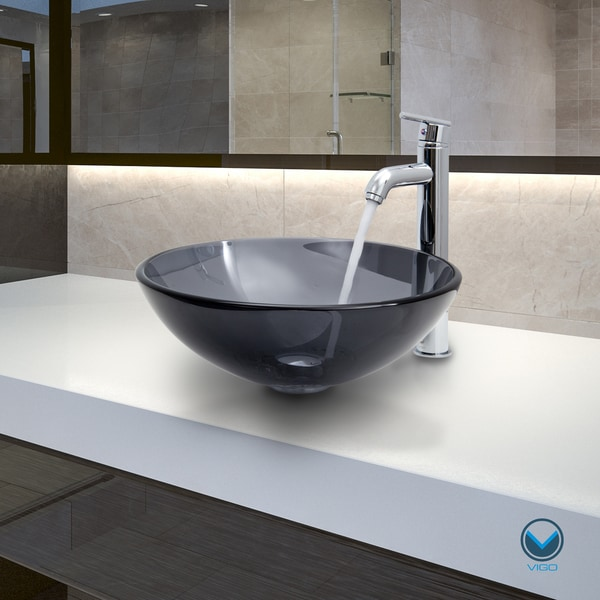 VIGO Sheer Black Glass Vessel Sink and Faucet Set in Chrome - Free ...