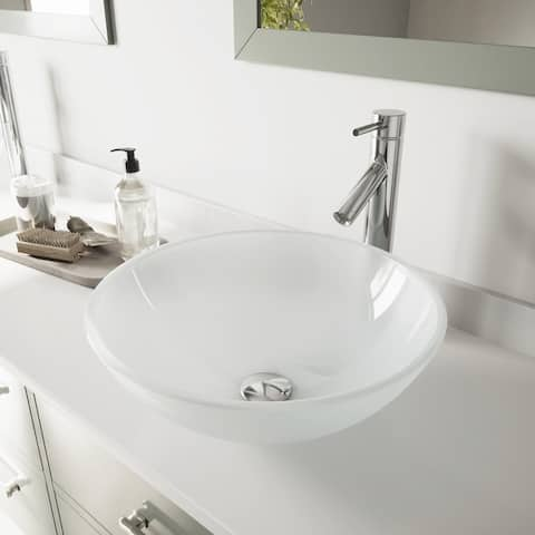 VIGO White Frost Glass Vessel Bathroom Sink and Dior Vessel Faucet Set