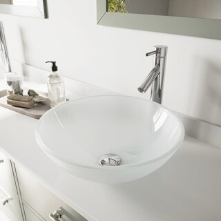 VIGO White Frost Glass Vessel Bathroom Sink and Dior Vessel Faucet Set