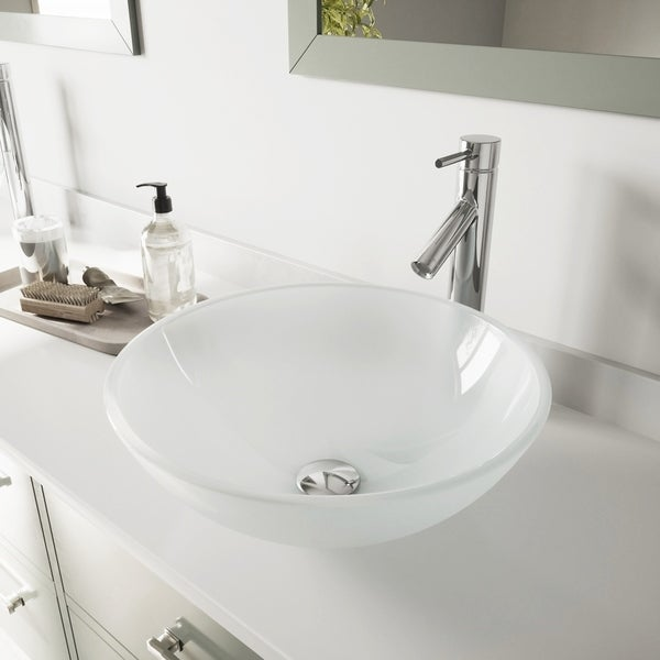 VIGO White Frost Glass Vessel Bathroom Sink and Dior Vessel Faucet Set. Opens flyout.
