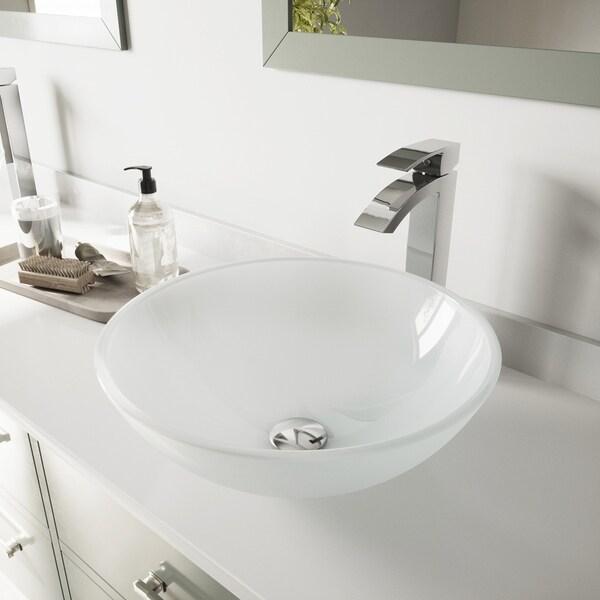 VIGO White Frost Glass Vessel Bathroom Sink and Duris Faucet Set
