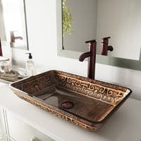 VIGO Golden Greek Glass Vessel Sink and Oil Rubbed Bronze Faucet Set