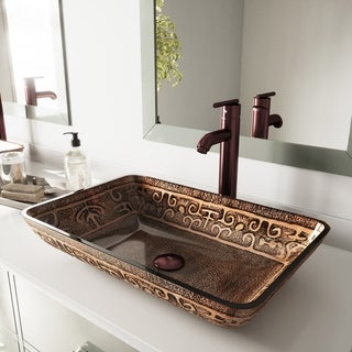 VIGO Golden Greek Glass Vessel Bathroom Sink Set with Seville Faucet