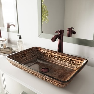VIGO Rectangular Golden Greek Glass Vessel Sink and Faucet Set in Oil Rubbed Bronze