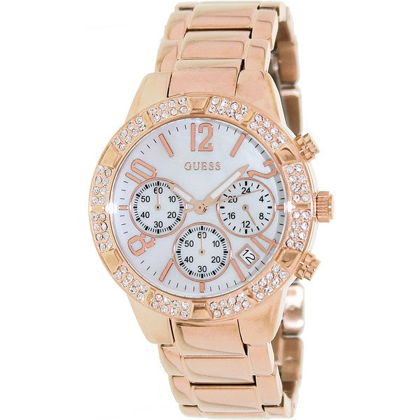 Guess Women's U0141L3 Rose-Gold Stainless-Steel Quartz Watch with Mother-Of-Pearl Dial
