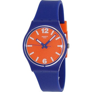 Swatch Women's Originals GN234 Blue Silicone Swiss Quartz Watch with Orange Dial