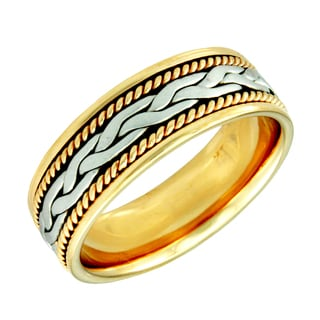 14k Two-Tone Gold Men's Handmade Wedding Band