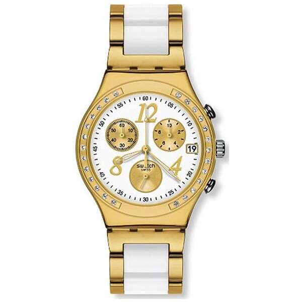 Swatch Women's Irony Two-Tone Sterling Silver Swiss Quartz Watch with White Dial