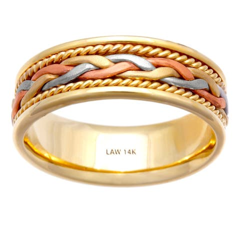 14k Tri-Color Gold Braided Design Comfort Fit Men's Wedding Bands