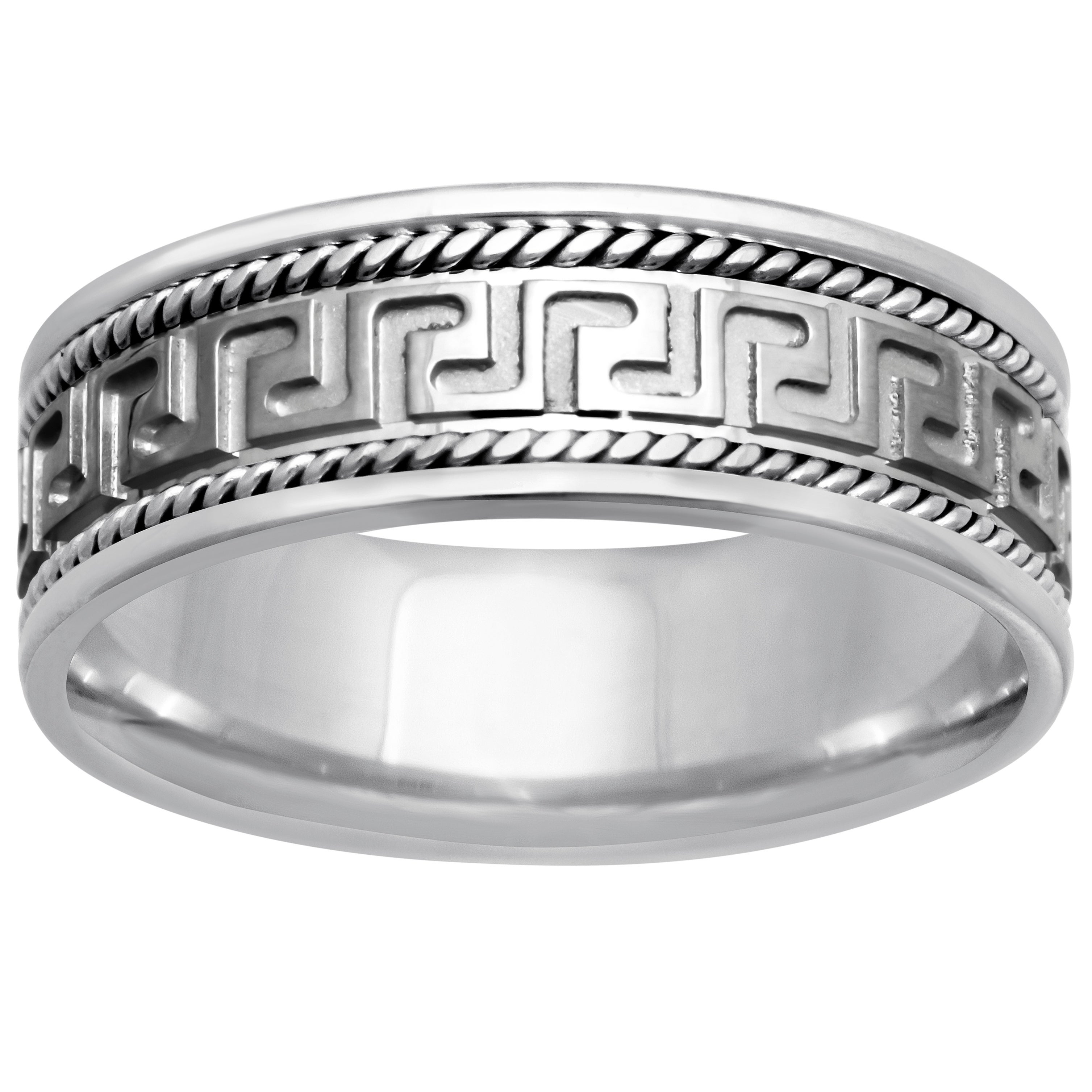 Stainless Steel Black 2 Color Greek Key Comfort Fit Flat Band Ring