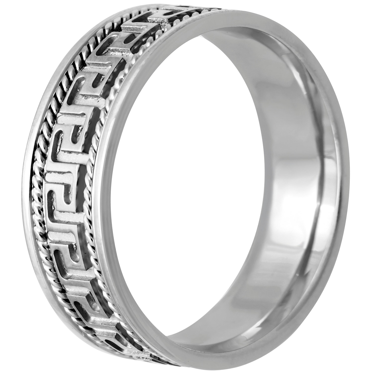 14k White Gold Greek Key Design Comfort Fit Men's Wedding Bands