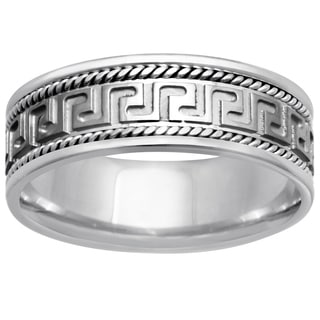 14k White Gold Men's Handmade Greek Key Design Wedding Band