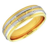 14k Two-tone Men's Handmade Comfort Fit Wedding Band