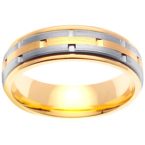 14k Two-Tone Gold Stacked Layer Design Comfort Fit Men's Wedding Bands