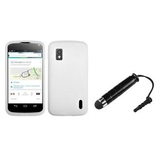 INSTEN Solid White Skin Phone Case Cover/ Stylus for LG Nexus 4 E960