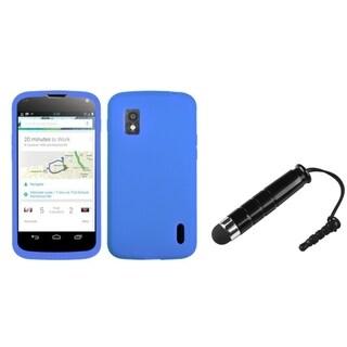 INSTEN Solid Dark Blue Skin Phone Case Cover/ Stylus for LG Nexus 4 E960