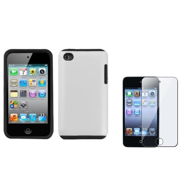 INSTEN Rubber Coated iPod Case Cover/ Screen Protector for Apple iPod Touch 4