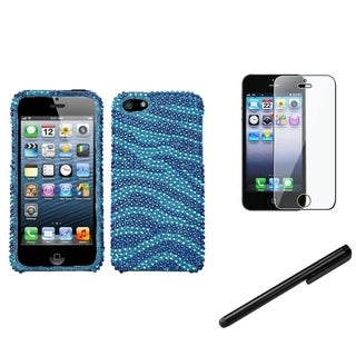 INSTEN Blue Zebra Skin Phone Case Cover/ Stylus/ LCD Protector for Apple iPhone 5/ 5C/ 5S/ SE