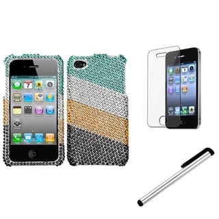 INSTEN Green Stripe Phone Case Cover/ Stylus/ LCD Protector for Apple iPhone 4/ 4S