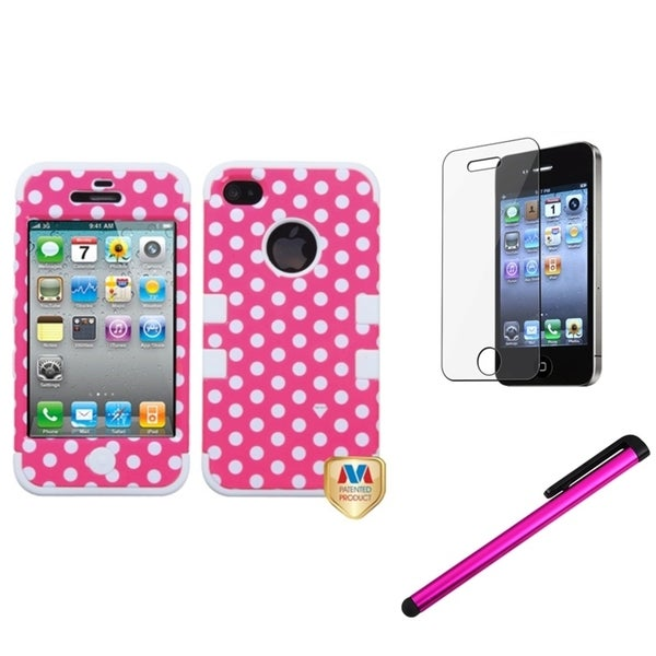 INSTEN Dots Phone Case Cover/ Stylus/ LCD Protector for Apple iPhone 4/ 4S