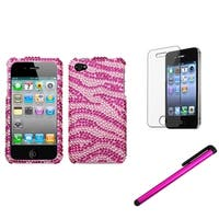 INSTEN Pink Zebra Phone Case Cover/ Stylus/ LCD Protector for Apple iPhone 4/ 4S