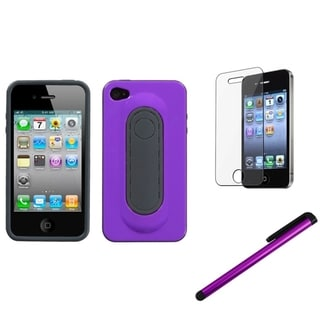 INSTEN Purple Phone Case Cover/ Stylus/ LCD Protector for Apple iPhone 4/ 4S