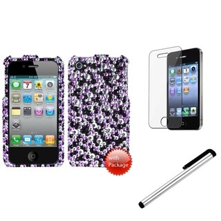 INSTEN Stardust Phone Case Cover/ Stylus/ LCD Protector for Apple iPhone 4/ 4S