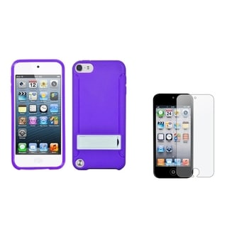 Insten Gummy iPod Case Cover/ Anti-glare Screen Protector for Apple iPod Touch 5th/ 6th