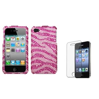 INSTEN Pink Zebra Phone Case Cover/ Screen Protector for Apple iPhone 4/ 4S