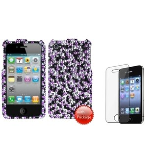 INSTEN Stardust Diamante Phone Case Cover/ LCD Protector for Apple iPhone 4/ 4S