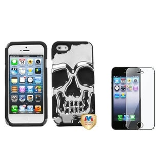 INSTEN Skullcap Hybrid Phone Case Cover/ LCD Protector for Apple iPhone 5/ 5C/ 5S/ SE