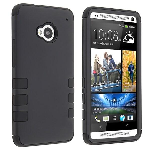BasAcc Black Skin/ Black Hard Hybrid Rubber Coated Case for HTC One M7