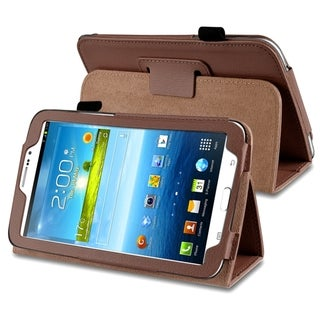 INSTEN Brown Leather Tablet Case Cover with Stand for Samsung Galaxy Tab 3 7.0