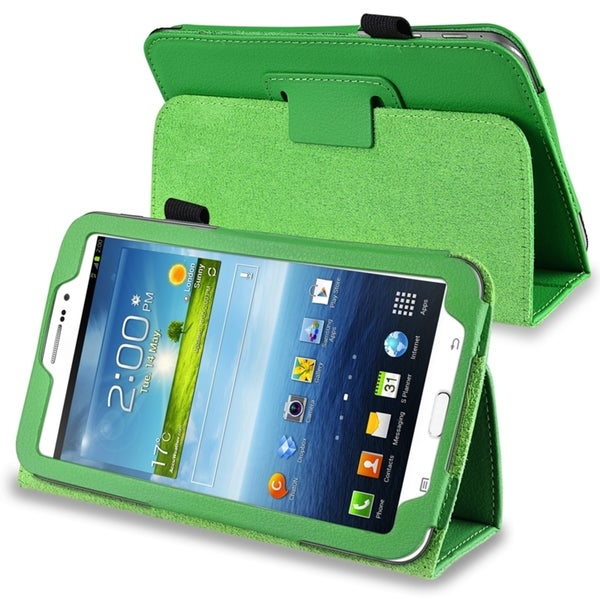 INSTEN Green Leather Tablet Case Cover with Stand for Samsung Galaxy Tab 3 7.0