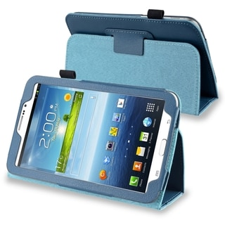 INSTEN Navy Blue Leather Tablet Case Cover with Stand for Samsung Galaxy Tab 3 7.0