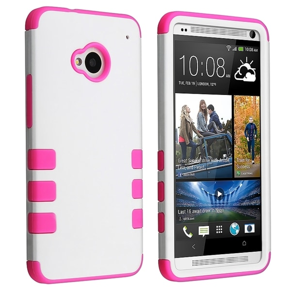 BasAcc Pink Skin/ White Hard Hybrid Rubber Coated Case for HTC One M7