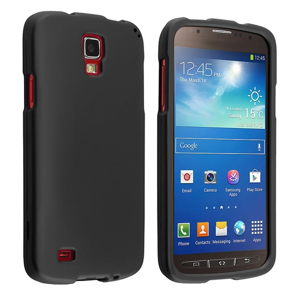 INSTEN Black Rubber Coated Phone Case Cover for Samsung Galaxy S4 Active I9295