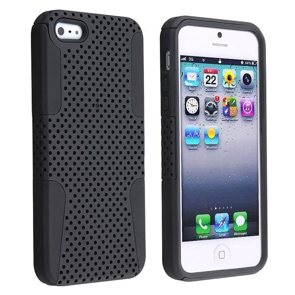 BasAcc Black Skin/ Black Meshed Hard Hybrid Case for Apple® iPhone 5/ 5S